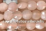 CCB543 15.5 inches 4mm faceted coin peach moonstone beads