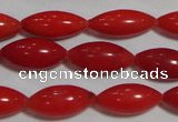 CCB59 15.5 inches 5*12mm rice shape red coral beads Wholesale