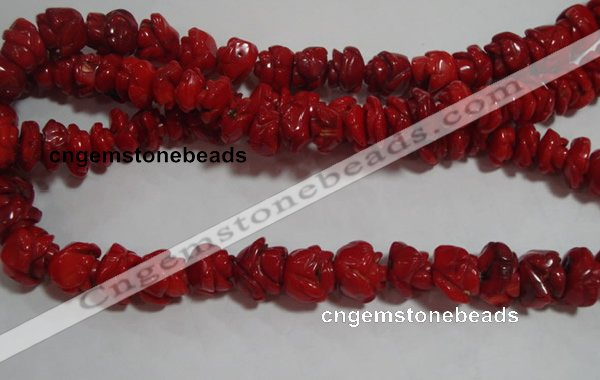 CCB63 15.5 inches 13mm rose shape red coral beads Wholesale