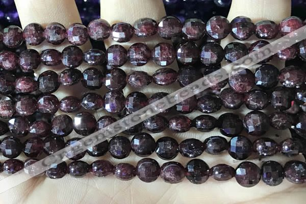 CCB630 15.5 inches 6mm faceted coin red garnet gemstone beads