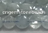 CCB700 15.5 inches 6mm faceted coin aquamarine gemstone beads