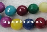 CCN1006 15.5 inches 14mm faceted round multi colored candy jade beads