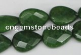 CCN389 15.5 inches 15*20mm faceted flat teardrop candy jade beads