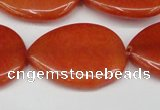 CCN3971 15.5 inches 30*40mm flat teardrop candy jade beads
