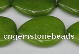 CCN3979 15.5 inches 30*40mm flat teardrop candy jade beads