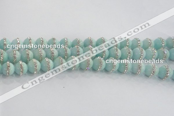 CCN4613 15.5 inches 12mm round candy jade with rhinestone beads