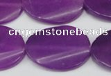 CCN618 15.5 inches 22*30mm twisted oval candy jade beads wholesale