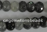 CCQ333 15.5 inches 10*14mm faceted rondelle cloudy quartz beads
