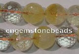 CCR206 15.5 inches 15mm faceted round natural citrine gemstone beads