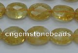 CCR24 15.5 inches 12*16mm faceted oval natural citrine gemstone beads