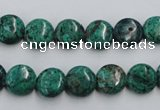 CCS211 15.5 inches 10mm flat round natural Chinese chrysocolla beads