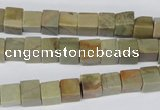 CCU47 15.5 inches 6*6mm cube silver leaf jasper beads wholesale