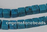 CCU62 15.5 inches 8*8mm cube turquoise beads wholesale