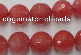 CCY115 15.5 inches 14mm faceted round cherry quartz beads wholesale