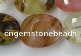 CCY444 15.5 inches 20*26mm faceted freeform volcano cherry quartz beads