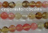 CCY502 15.5 inches 8mm faceted round volcano cherry quartz beads