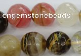 CCY507 15.5 inches 18mm faceted round volcano cherry quartz beads