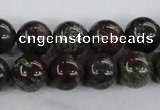 CDB254 15.5 inches 14mm round natural dragon blood jasper beads