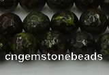 CDB313 15.5 inches 10mm faceted round dragon blood jasper beads