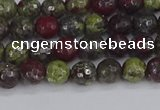 CDB328 15.5 inches 4mm faceted round A grade dragon blood jasper beads
