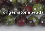 CDB332 15.5 inches 12mm faceted round A grade dragon blood jasper beads