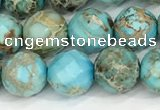 CDE1386 15.5 inches 8mm faceted round sea sediment jasper beads