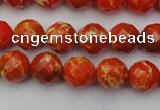 CDE2100 15.5 inches 6mm faceted round dyed sea sediment jasper beads