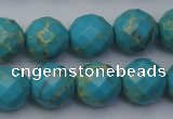 CDE2156 15.5 inches 18mm faceted round dyed sea sediment jasper beads