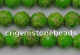 CDE2182 15.5 inches 10mm faceted round dyed sea sediment jasper beads