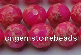 CDE2508 15.5 inches 16mm faceted round dyed sea sediment jasper beads