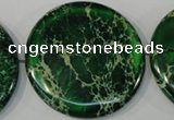 CDE977 15.5 inches 45mm flat round dyed sea sediment jasper beads
