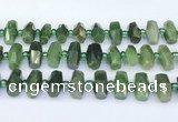 CDJ413 15.5 inches 8*14 – 9*14mm faceted freeform Canadian jade beads