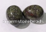 CDN1390 35*45mm egg-shaped dragon blood jasper decorations wholesale