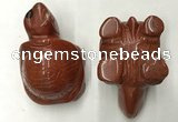 CDN462 38*55*28mm turtle red jasper decorations wholesale