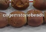 CDQ637 8 inches 12*14mm rice druzy quartz beads wholesale