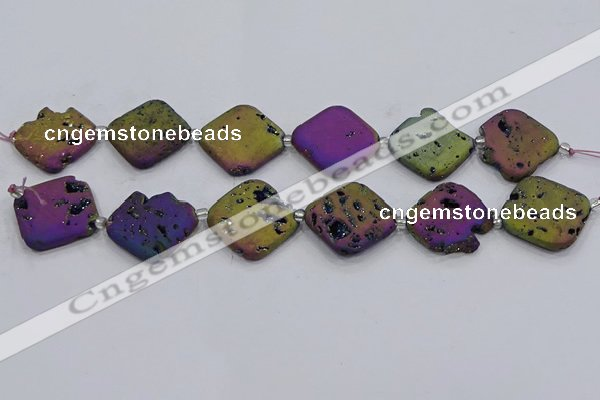 CDQ665 8 inches 25*25mm diamond druzy quartz beads wholesale