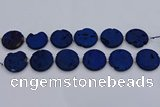 CDQ681 8 inches 30mm flat round druzy quartz beads wholesale