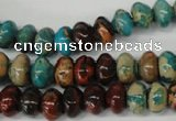 CDS30 15.5 inches 6*10mm rondelle dyed serpentine jasper beads