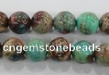 CDT805 15.5 inches 12mm round dyed aqua terra jasper beads wholesale