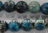 CDT807 15.5 inches 15mm round dyed aqua terra jasper beads wholesale