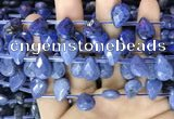 CDU223 Top drilled 10*14mm faceted briolette dumortierite beads