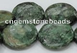 CEM04 15.5 inches 30mm flat round emerald gemstone beads wholesale