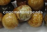 CFA34 15.5 inches 20mm round yellow chrysanthemum agate beads