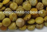 CFA40 15.5 inches 10mm flat round yellow chrysanthemum agate beads