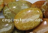 CFA50 15.5 inches 30*40mm oval yellow chrysanthemum agate beads