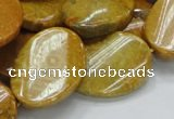 CFA60 15.5 inches 22*30mm twisted oval yellow chrysanthemum agate
