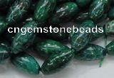 CFA69 15.5 inches 8*17mm rice green chrysanthemum agate beads