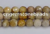 CFC228 15.5 inches 4mm faceted round fossil coral beads
