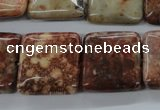 CFC96 15.5 inches 20*20mm square fossil coral beads wholesale