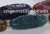 CFG1115 15.5 inches 12*35mm - 12*43mm carved rice agate beads